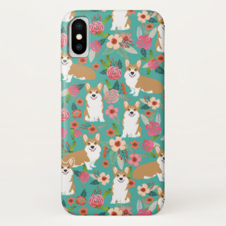 Corgi BlumeniPhone Fall - Türkis iPhone X Hülle
