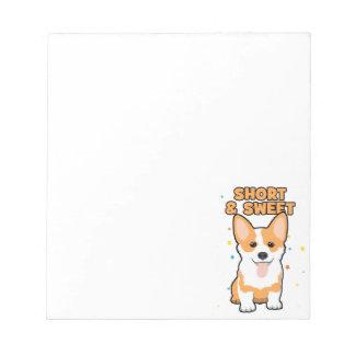 Corgi-- kurzer und süß, niedlicher HundeCartoon, Notizblock