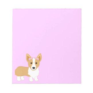 Corgi-Mädchen-Hund mit rosa Bögen Notizblock
