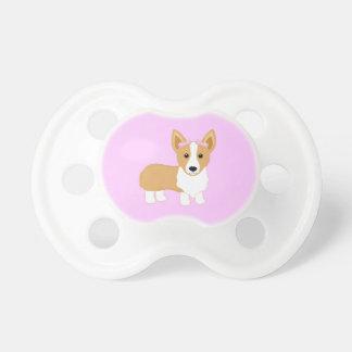 Corgi-Mädchen-Hund mit rosa Bögen Schnuller