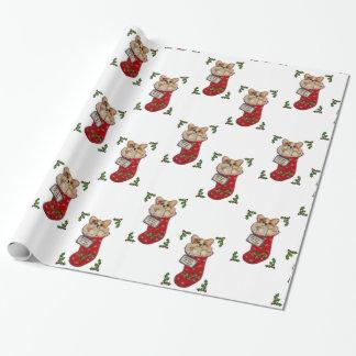 Corgi-WeihnachtsStrumpf-Verpackungs-Papier Geschenkpapier