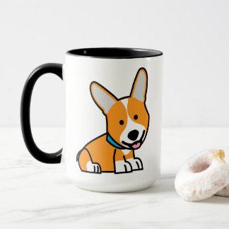 CorgiCorgis verfolgen Welpenhündchen glücklichen Tasse