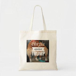 Corgis gegen Trumpf-Tasche Budget Stoffbeutel
