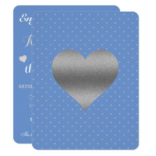 Cornflower-blaue u. silberne 10,8 x 14 cm einladungskarte