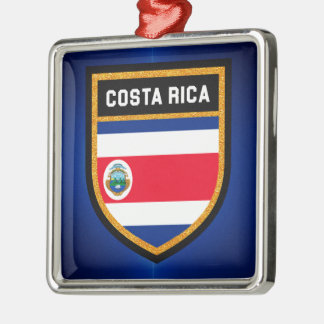 Costa Rica-Flagge Quadratisches Silberfarbenes Ornament