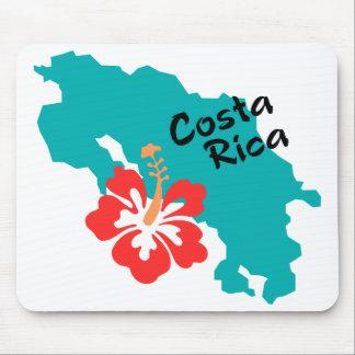 Costa Rica Karte mit Hibiskus Mauspads