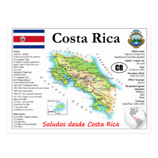Costa Rica-Karten-Postkarte Postkarte