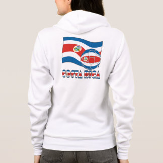 Costa Rican Fußball-Ball und Staats-Flagge Hoodie