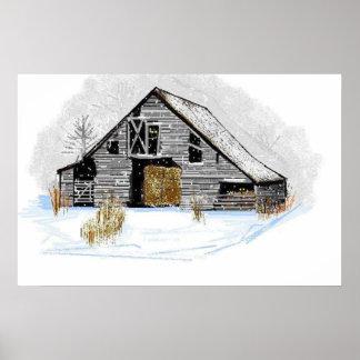 Cosy alte Scheune in der Schnee-Malerei Poster