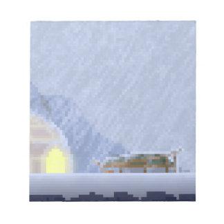 Cosy im Sturm-Pixel-Kunst-Notizblock Notizblock