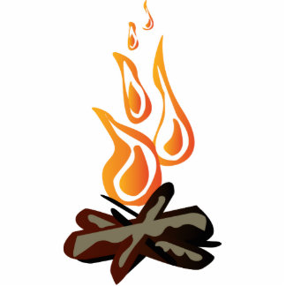 Cosy Lager-Feuer-Cartoon Freistehende Fotoskulptur