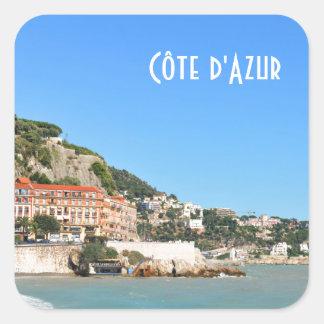 Côte d'Azur in Nizza, Frankreich Quadratischer Aufkleber