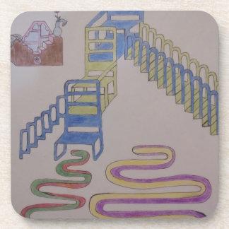 Couches mit Treppenhäusern und wriggling Matten Getränkeuntersetzer