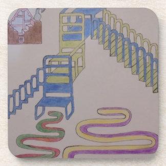 Couches mit Treppenhäusern und wriggling Matten Untersetzer