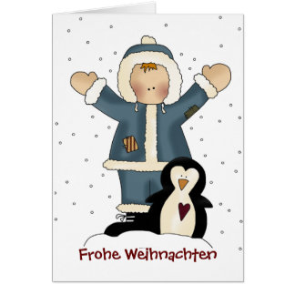 Country Boy and Penguin Christmas Greeting Card Grußkarte