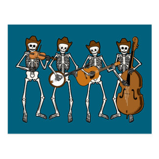 Countrymusik, die Skelette spielt Postkarte
