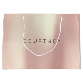 COURTNEY Rosen-Gold erröten perliges minimales Große Geschenktüte