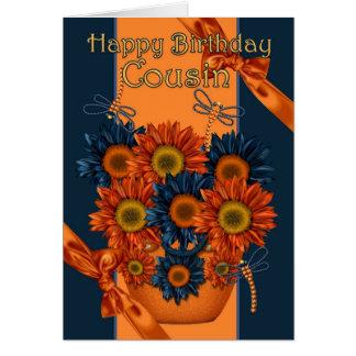 Cousin-Geburtstags-Karte - Sonnenblume und Libelle Karte