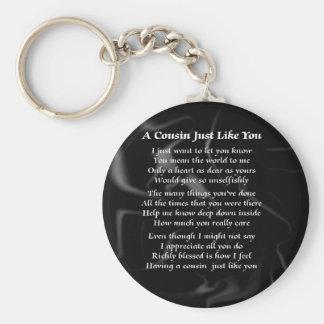 Cousin-Gedicht - schwarze Seide Schlüsselanhänger
