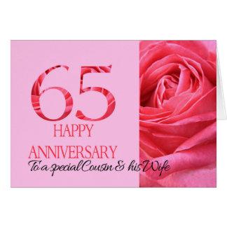 Cousin-u. Ehefrau-Jahrestags-Karten-Rosa-Rose Karte
