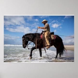 Cow Pferdeboy im Meer postieren Poster