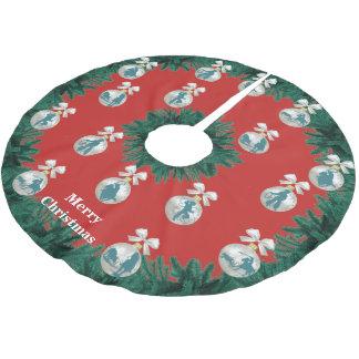 Cowboy-Cowgirls, die im blauen Feiertags-Baum-Rock Polyester Weihnachtsbaumdecke