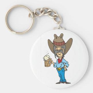 Cowboy, der Tasse hält Schlüsselanhänger