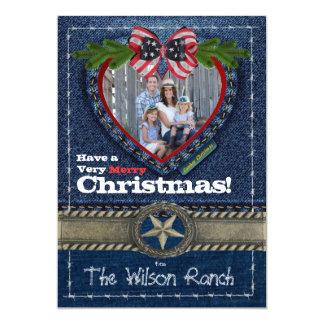 Cowboy-Foto-Weihnachtskarte auf Denim-Druck 12,7 X 17,8 Cm Einladungskarte