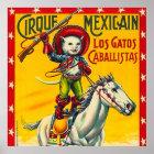 Cowboy-Katzen-mexikanischer Zirkus-Vintage Poster