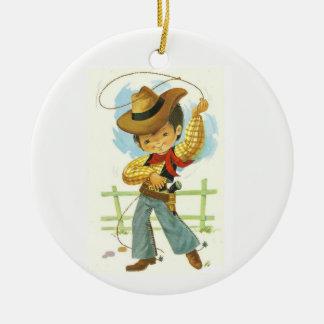 Cowboy-Kind Keramik Ornament