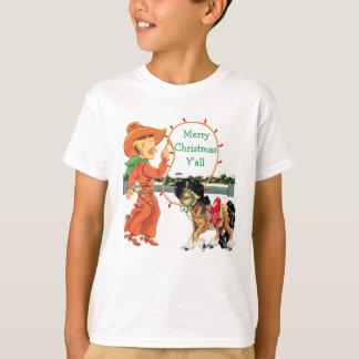 Cowboy-Kind mit Seil-und Pferdefeiertags-T - Shirt