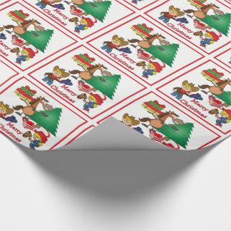 Cowboy-Kinder und Geschenkpapier