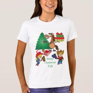 Cowboy-Kinder und PferdeCartoon-Feiertags-T - T-Shirt