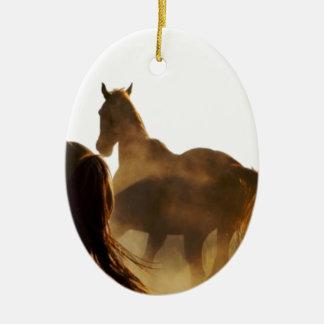 Cowboy Lassopferd Keramik Ornament