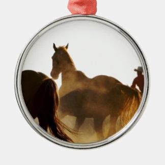 Cowboy Lassopferd Silbernes Ornament