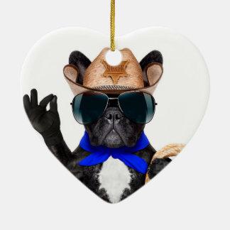 Cowboy-Mops - Hundecowboy Keramik Ornament
