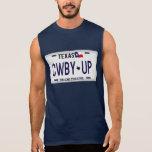 Cowboy oben!  CWBY UP Texas-Kfz-Kennzeichen Kurzarm Shirts