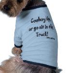 Cowboy oben hund t-shirt