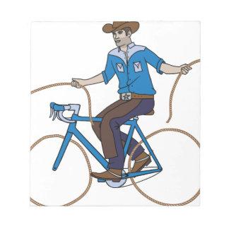 Cowboy-Reitfahrrad mit Lasso-Rädern Notizblock