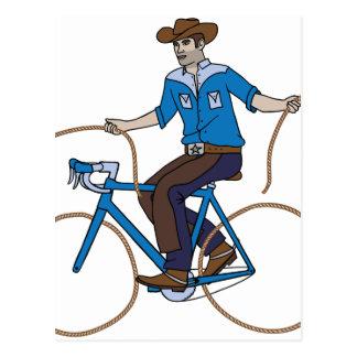 Cowboy-Reitfahrrad mit Lasso-Rädern Postkarte