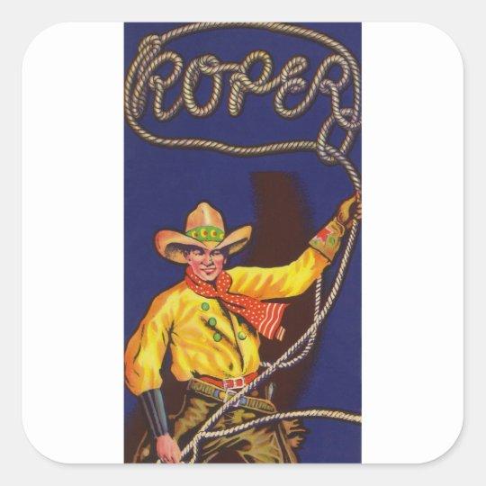Cowboy-Roper-Aufkleber Quadratischer Aufkleber