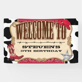 Cowboy, roter Geburtstag, Willkommen Banner
