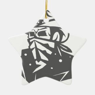 Cowboy-Schädel mit Bandana und Hut Keramik Ornament