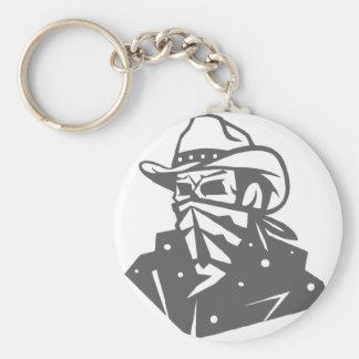 Cowboy-Schädel mit Bandana und Hut Schlüsselanhänger
