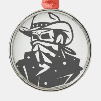 Cowboy-Schädel mit Bandana und Hut Silbernes Ornament