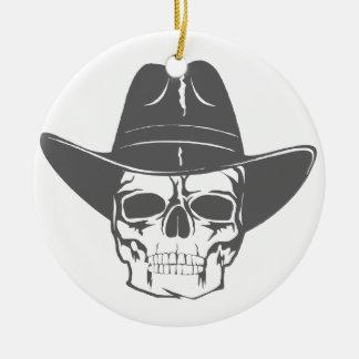 Cowboy-Schädel mit Hut Keramik Ornament