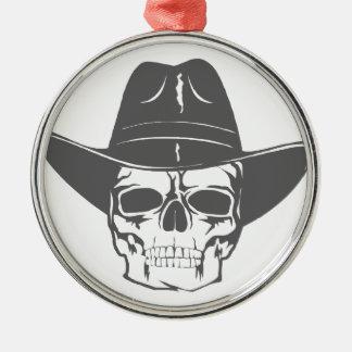 Cowboy-Schädel mit Hut Silbernes Ornament