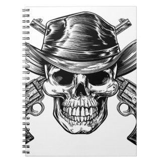 Cowboy-Schädel und Pistolen Notizblock
