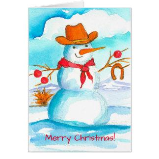 Cowboy-Schneemann-Aquarell-frohe Weihnachten Karte