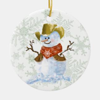 Cowboy-Schneemann Keramik Ornament